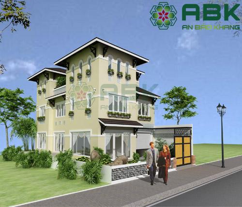 Mẫu thiết kế biệt thự 3 tầng mái Thái tuyệt đẹp M05