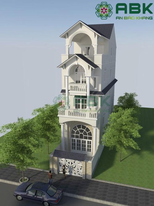 Chiêm ngưỡng mẫu thiết kế nhà phố 3 tầng rưỡi mái Thái M09