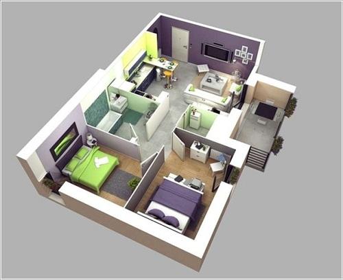 Chung cư 60m2 và 10 phòng cách thiết kế nội thất tuyệt vời